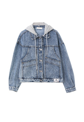 Its Me grey and blue Stitched Panelled Hooded Denim Jacket 1C34CAA6627990GS_1