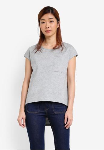 UniqTee grey Cap Sleeve Asymmetrical Hem Top UN097AA0S22XMY_1