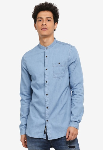 Only & Sons blue Try Longline Denim China Shirt 03A59AA25580CAGS_1