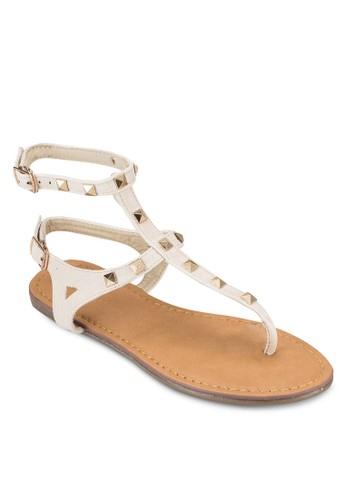 鉚釘雙踝帶平底涼鞋, 女鞋, esprit台灣鞋