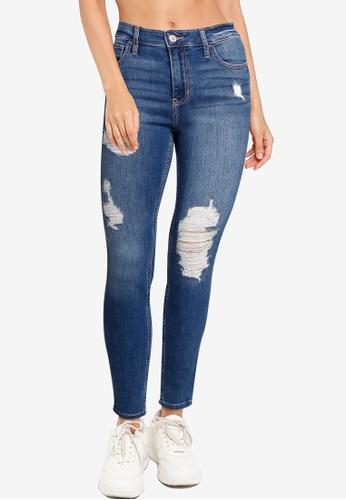 Hollister blue Destroy Mid Rise Super Skinny Jeans C771FAA6BD5613GS_1