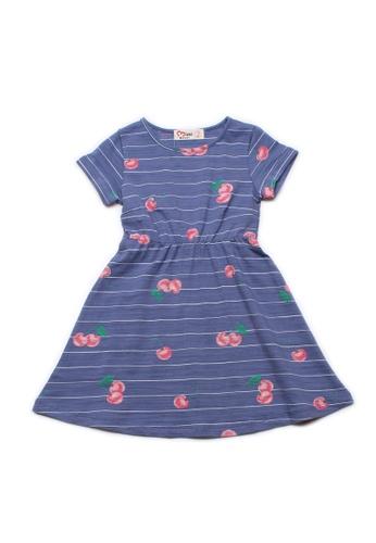 Mini Moley blue Cherries Print Girl's Skater Dress F6880KAF1CF5D3GS_1