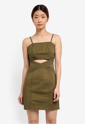 Something Borrowed green Contrast Stitch Cami Dress 9F034AA4629397GS_1