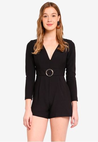 2f6d0f77f76 Miss Selfridge black Petite Black Ring Buckle Playsuit 3998CAAB799943GS 1