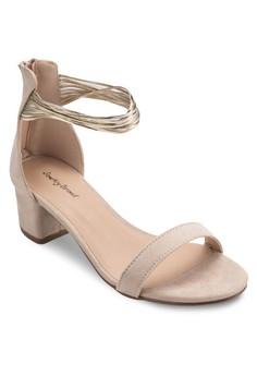 Metallic Cuff Block Heel Sandal