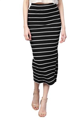 SASSAFRAS black Black White Stripe Maxi Pencil Skirt 3E349AA737D4E3GS_1