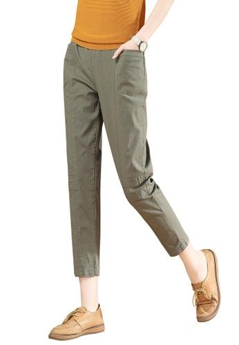 A-IN GIRLS green Elastic Waist Trousers 2A5CCAAA604366GS_1