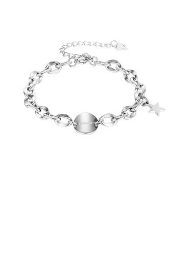 Glamorousky silver Simple Fashion Geometric Circle Star 316L Stainless Steel Bracelet 54BA8AC772F106GS_1