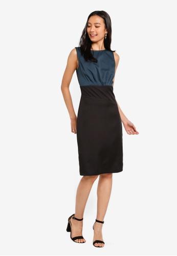 ZALORA black and green Asymmetrical Waist Sheath Dress 0AF32AAF1ABD75GS_1