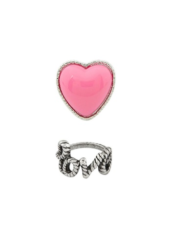 Fur Nyce pink and silver Fashion Love and Heart Ring Set FU779AC0RIZMMY_1
