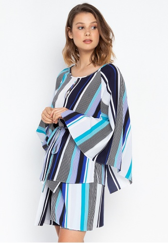 Josie navy Stripes Kimono Top 094CAAA10F36FFGS_1