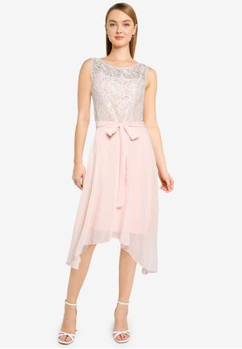 Dorothy Perkins pink Blush Lace Hanky Hem Midi Dress 329AAAAFEAB41DGS_1