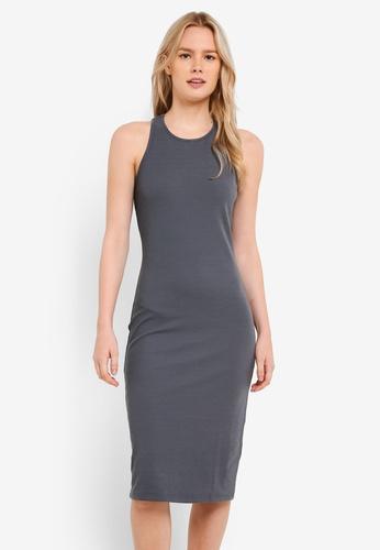 Something Borrowed grey Back Detail Bodycon Racer Dress 44042ZZ3626F6CGS_1