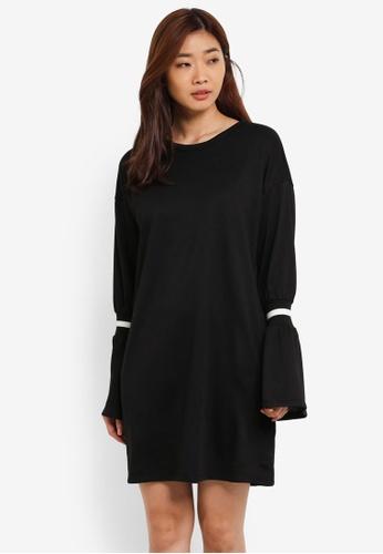 ZALORA black Shift Dress With Rib Sleeves F9198AAF3CCE01GS_1