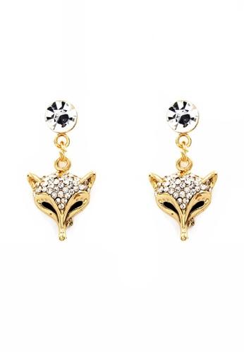 Venice Jewelry gold Venice Fierce Fox Necklace and Earrings Set VE564AC0IW5IPH_1