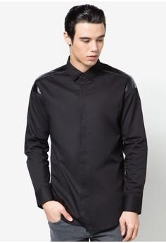 X-Cotton Poplin Long Sleeve Shirt With PU Insert