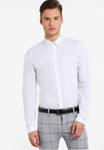 Topman 白色 White Ultra Muscle Fit Smart Shirt TO413AA92FULMY_1