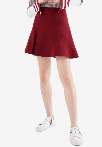 Hopeshow red High Waist Flared Folded Mini Skirt 9E023AAF1C4B38GS_1