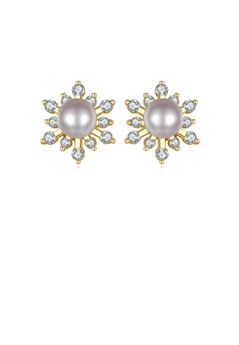 Glamorousky white 925 Sterling Silver Plated Gold Fashion Elegant Snowflake Freshwater Pearl Stud Earrings with Cubic Zirconia 8A9C5AC1AE7EFCGS_1