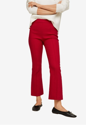 Mango red Flare Crop Trousers 52A63AA683D40BGS_1