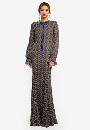 Syomirizwa Gupta for ZALORA green and multi VEGA Dress D11A3AA06D0BA8GS_1