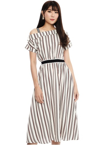 Nichii white One Shoulder Shadow Stripe Dress EB22AAAED23939GS_1
