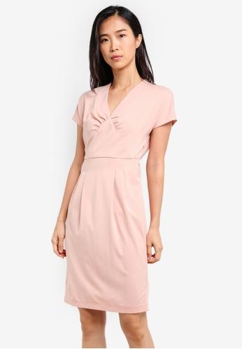 ZALORA pink Sheath Dress With Gathered Details 6605FAAA9570DEGS_1