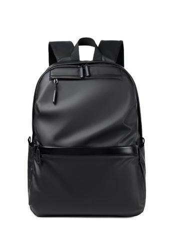Lara black Men's Plain Water-proof Wear-resistant Nylon Zipper Backpack - Black 25917AC1FE79A2GS_1