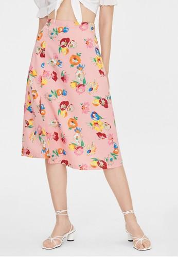 Pomelo pink Floral Print Side Slit Skirt - Pink FB27BAA98C8A64GS_1