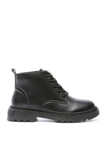 Twenty Eight Shoes black Top Layer Cowhide Lace Up Boots VB829 26C0BSHDB3EAE9GS_1