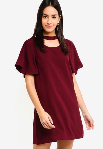 ZALORA red Short Sleeves Dress 7F330AA10E516EGS_1
