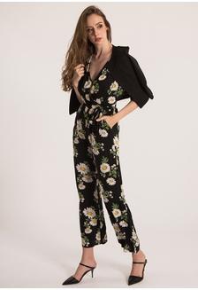 27a016d3bde Plain B. V Neck Floral Jumpsuit 9DDBDAA236C604GS 1
