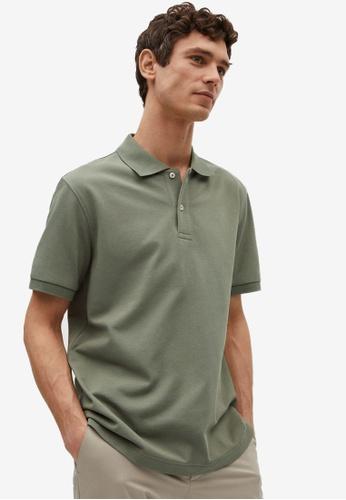 MANGO Man green Technical Cotton Piqué Polo Shirt BF731AAE386F3BGS_1