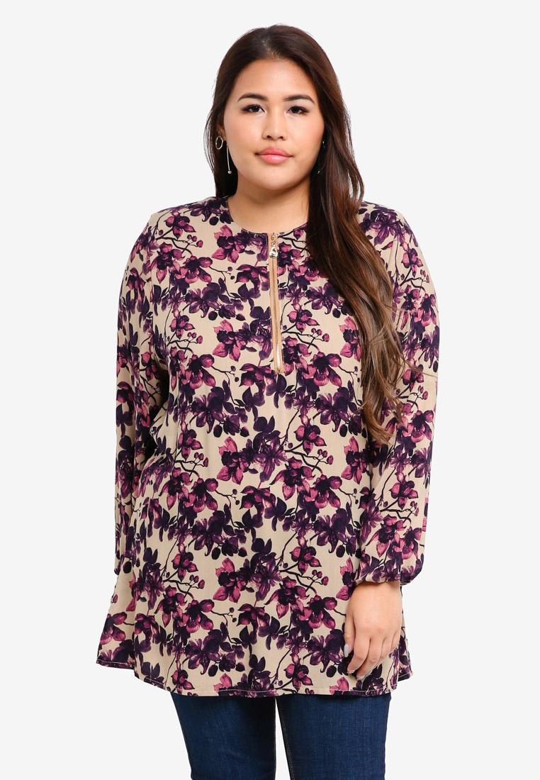 Dark BYN Blouse Muslimah Purple Purple Size Plus XW87w8aqBv