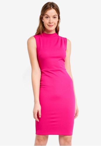 Dorothy Perkins pink Fold Neck Sleeveless Pencil Dress B3686AA6CBD47DGS_1