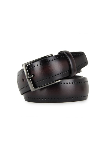 Barnns red Barnns Legacy Perforated Calf Leather Belt in Wine ECB9BAC3CB6B3DGS_1