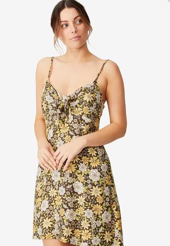 Cotton On multi Woven Dakota Tie Front Mini Dress A52EDAA81D4B62GS_1