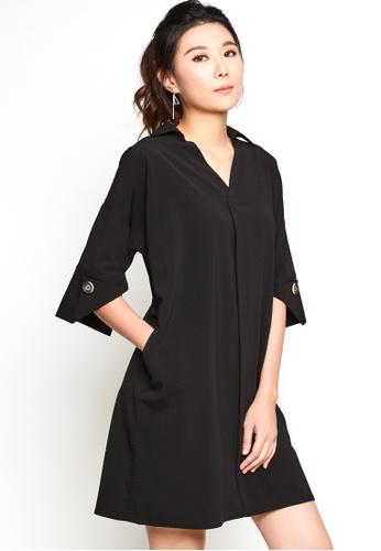 Nichii black Wide Sleeve V-neck Shirtdress 9DFEFAA885D0A8GS_1