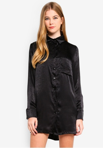 MISSGUIDED black Oversized Satin Shirt Dress 9885CAA3C8111EGS_1