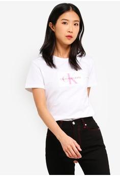 d1146ce9bdde8d Calvin Klein white Flocked Monogram Tee - Calvin Klein Jeans  270D1AAD0D58A7GS 1