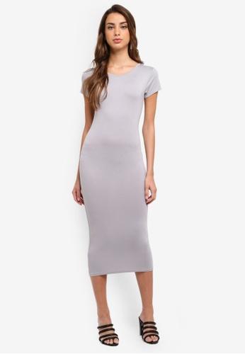 MISSGUIDED grey Short Sleeve Midi Dress 38B49AA80853F1GS_1