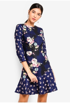 7351fe78f4 Little Mistress multi and navy Multi Floral Mini Dress 6FDD9AA260117FGS 1