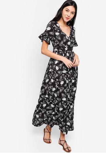 ZALORA black and multi Wrap Maxi Dress 3F285AA1AFCAB1GS_1