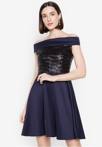 Ashley Collection navy Sequins Off Shoulder Flare Dress 673CFAA84F9598GS_1