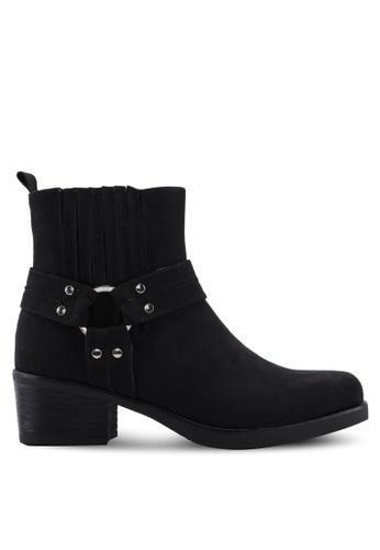 MISSGUIDED 黑色 方形鞋頭 Harness 踝靴 C8267SH2E3C432GS_1