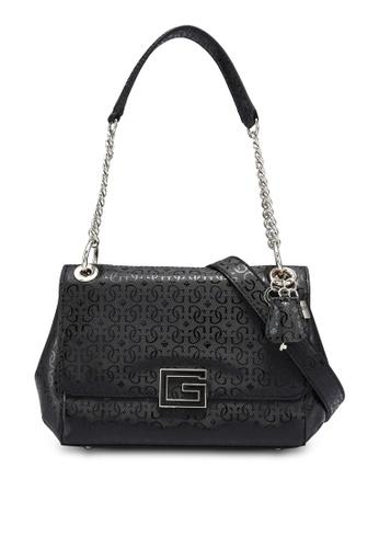 Guess black Blane Flap Shoulder Bag 0B4D9AC726D425GS_1