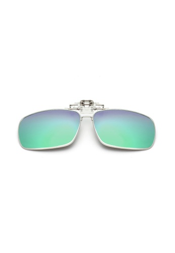 A FRENZ green and blue Full Rim Polarized UV400 Flip-Up Large Clip On Sunglasses 341A8GL9252ED1GS_1