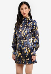 LOST INK blue Printed Satin High Neck Playsuit LO238AA0RVJCMY_1