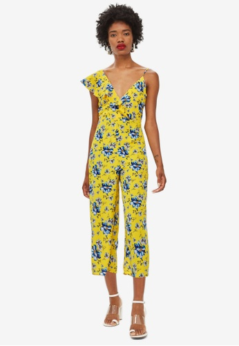 TOPSHOP yellow Ruffle Floral Jumpsuit D4647AA06B3887GS_1