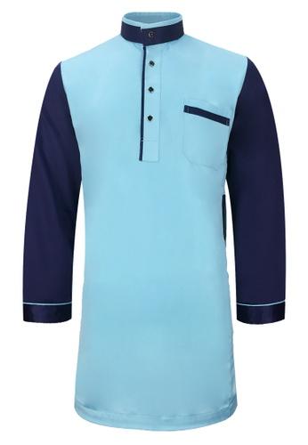 Pacolino blue Baju Kurta Muslim For Kids - D2703 (Blue) 220FBKAA92A941GS_1
